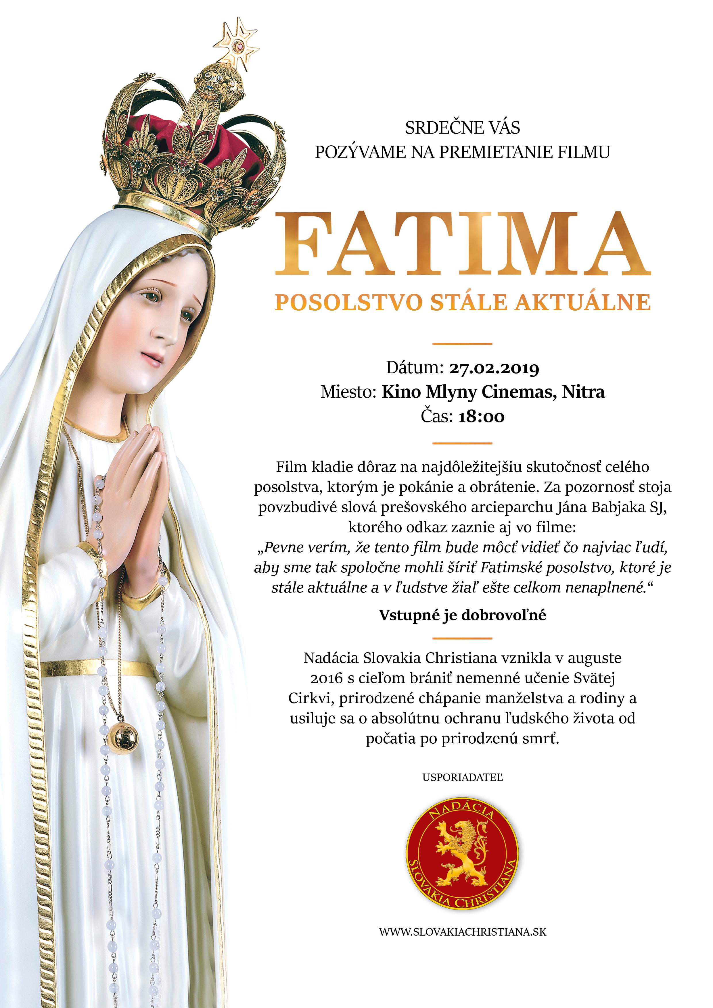 Fatima – posolstvo stále aktuálne